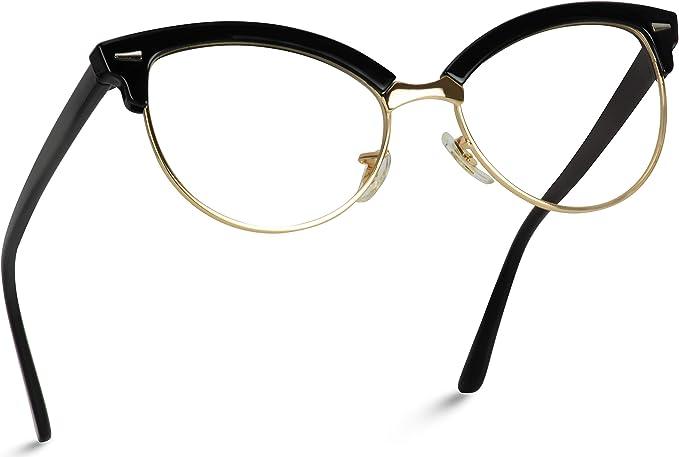 New Women/'s Black High Fashion Semi-Rimless Clear Lens Cat Eye Sunglasses