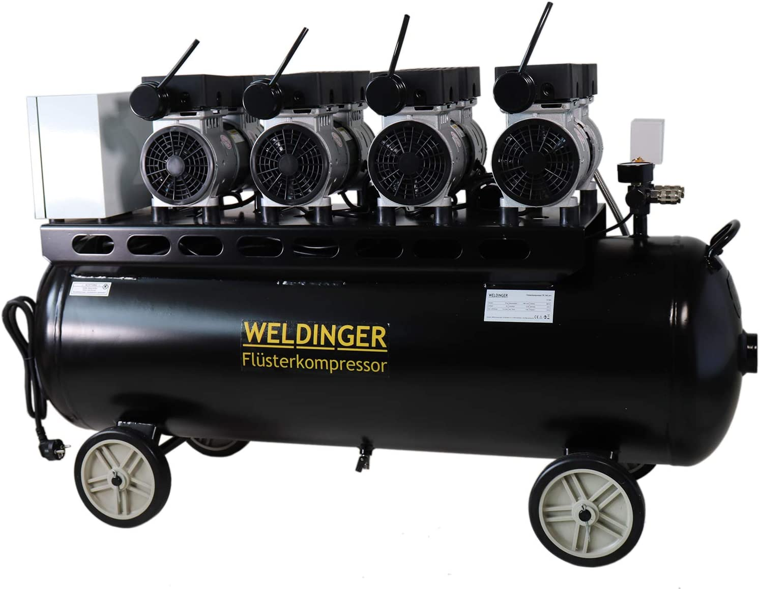 Weldinger Flüsterkompressor Fk 360 Pro 3000 W 230 V Motoren Einzeln Schaltbar Innenbeschichteter 90 Liter Tank 5 Jahre Garantie Baumarkt