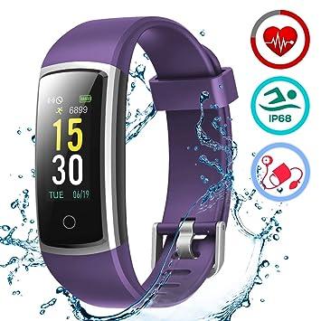 LATEC Montre Connectée Smartwatch Bracelet Connecté Moniteur de Pression Artérielle Podomètre Etanche IP68 Écran Couleur pour