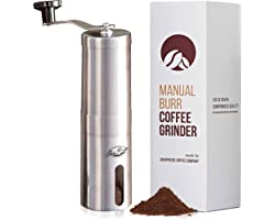 JavaPresse Manual Coffee Grinder with Adjustable Settings - Patented Conical Burr Mill & Brushed Stainless Steel Whole Bean B
