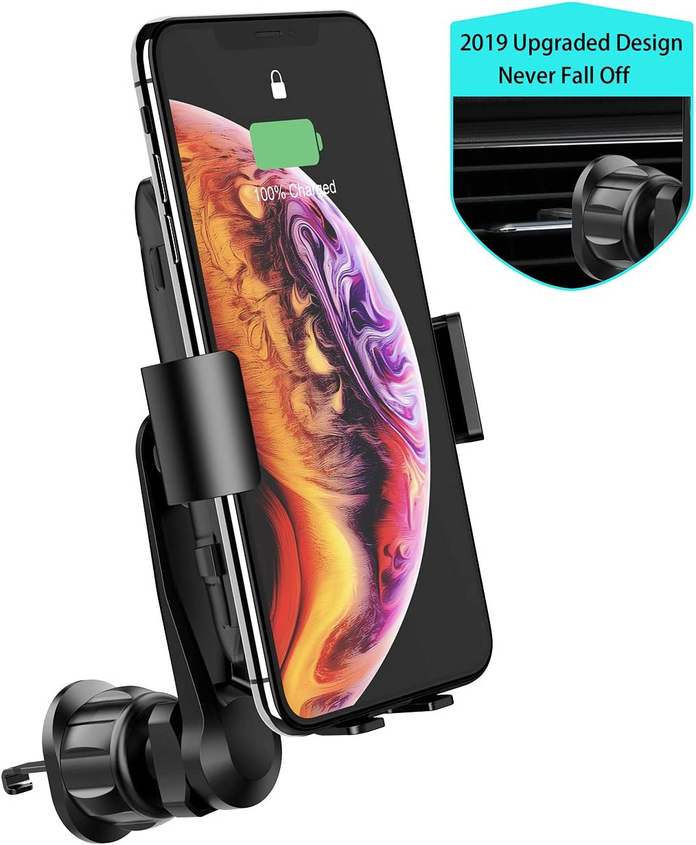 Wireless Car Charger, MANKIW 10W Qi Fast Charging Car Charger Mount Phone Holder Automatic open Clamping,Compatible for iPhone 11/11pro/11pro MAX/XS MAX/XR/XS/X/8Plus/8,Samsung Galaxy S9/S8/S8+