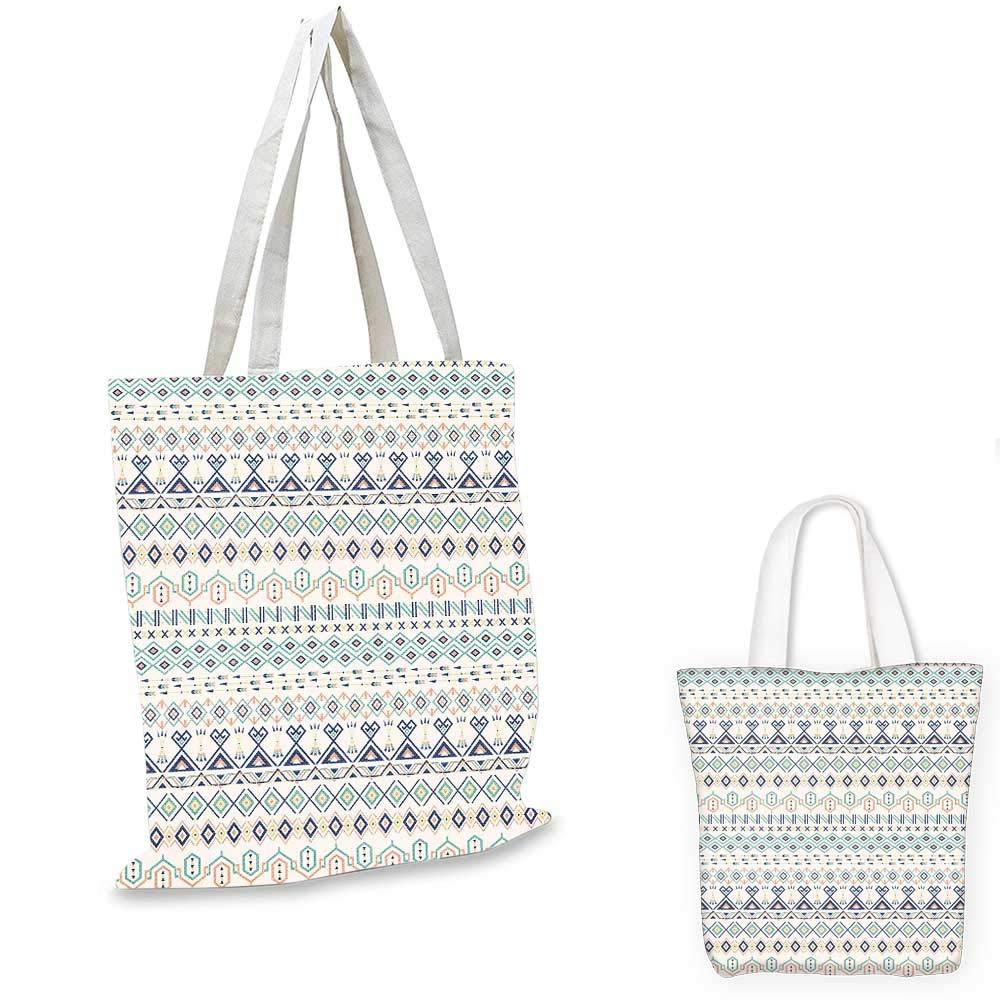 12x15-10 Geometric canvas messenger bag Aztec Motifs Triangles Squares Artful Folk Inspiration Tribal Image canvas beach bag Mint Dark Blue Peach