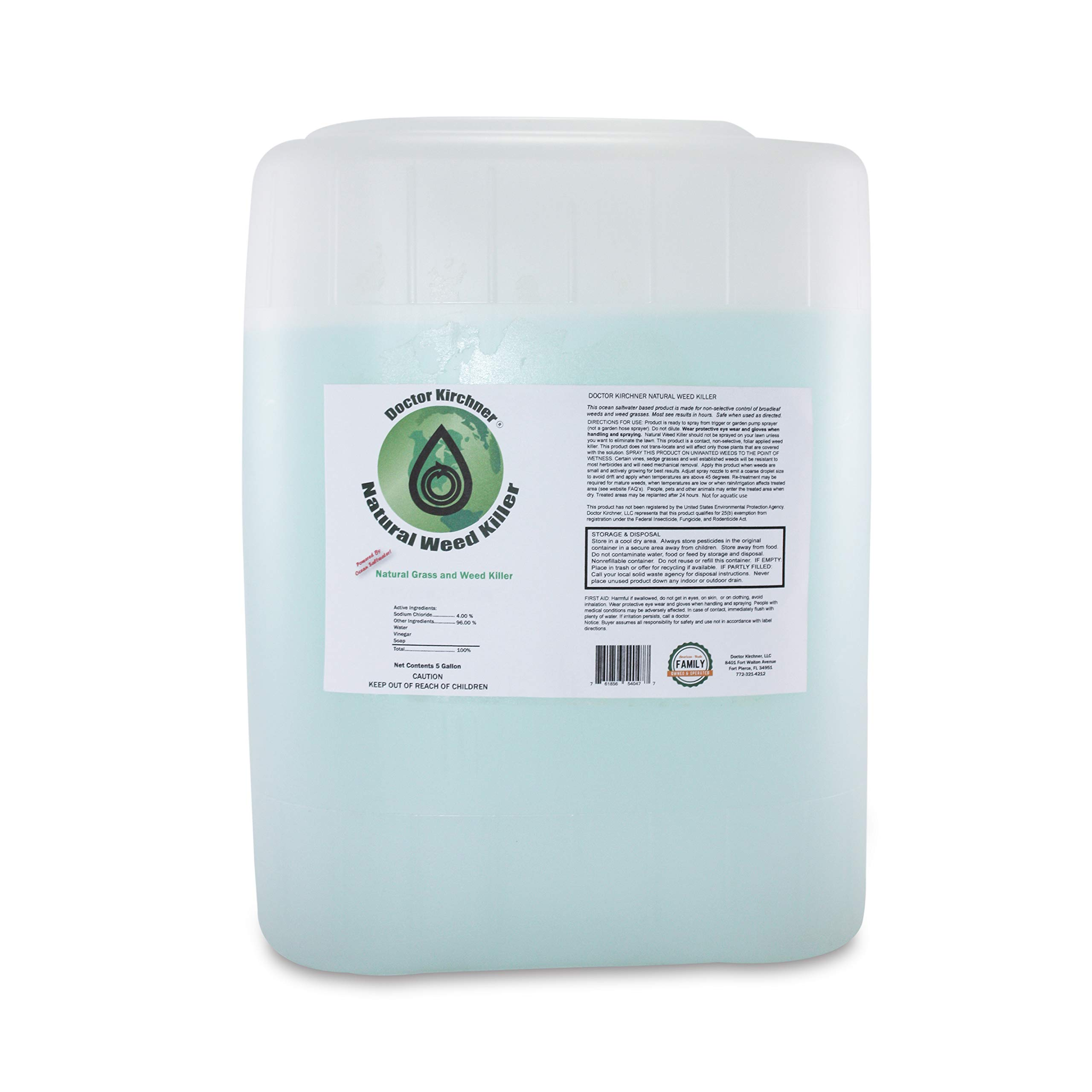 Natural Weed Killer Made with Ocean Water and Commercial Food Grade Vinegar Pet Friendly (5 Gallon)