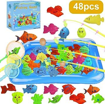 aovowog 48PCS Juegos de Piscina para Niños,Juguete de Pesca Magnética para Niños de 3 Años,Juegos de Agua para Jardin Juegos Exterior Interior Gran Regalo para Bebé Niños Niñas: Amazon.es: Juguetes y juegos