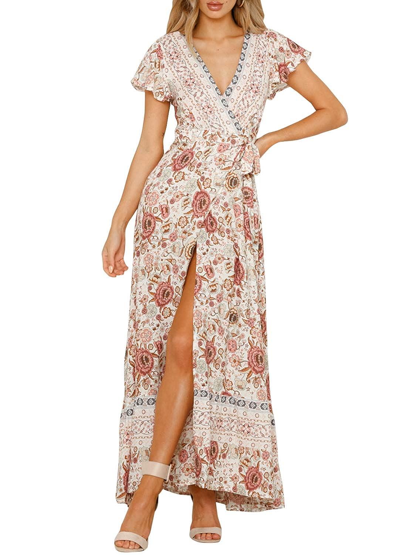 dfa2633d0 Miessial Women's Floral Print V Neck Maxi Dress Split Beach Flowy Boho Wrap  Dresses at Amazon Women's Clothing store: