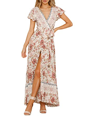 1cb65dbfe97834 Miessial Women's Floral Print V Neck Maxi Dress Split Beach Flowy Boho Wrap  Dresses Beige 4