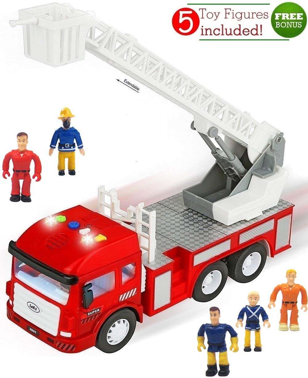 FUNERICA Toy Fire Truck with Lights and Sounds – 4 Sirens – Extending Ladder – Powerful Friction Rolling – Firetruck Fire Engine for Toddlers & Kids