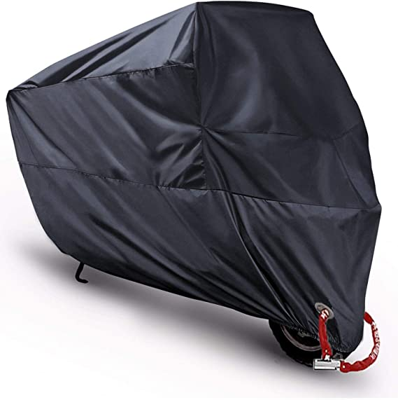 Scooter Covers Moped Cover Waterproof Motorcycle Prevent Rain Sun UV Dustproof for Any Season and Weather with Lock Holes Rust Resistance and Buckle Black 78.7