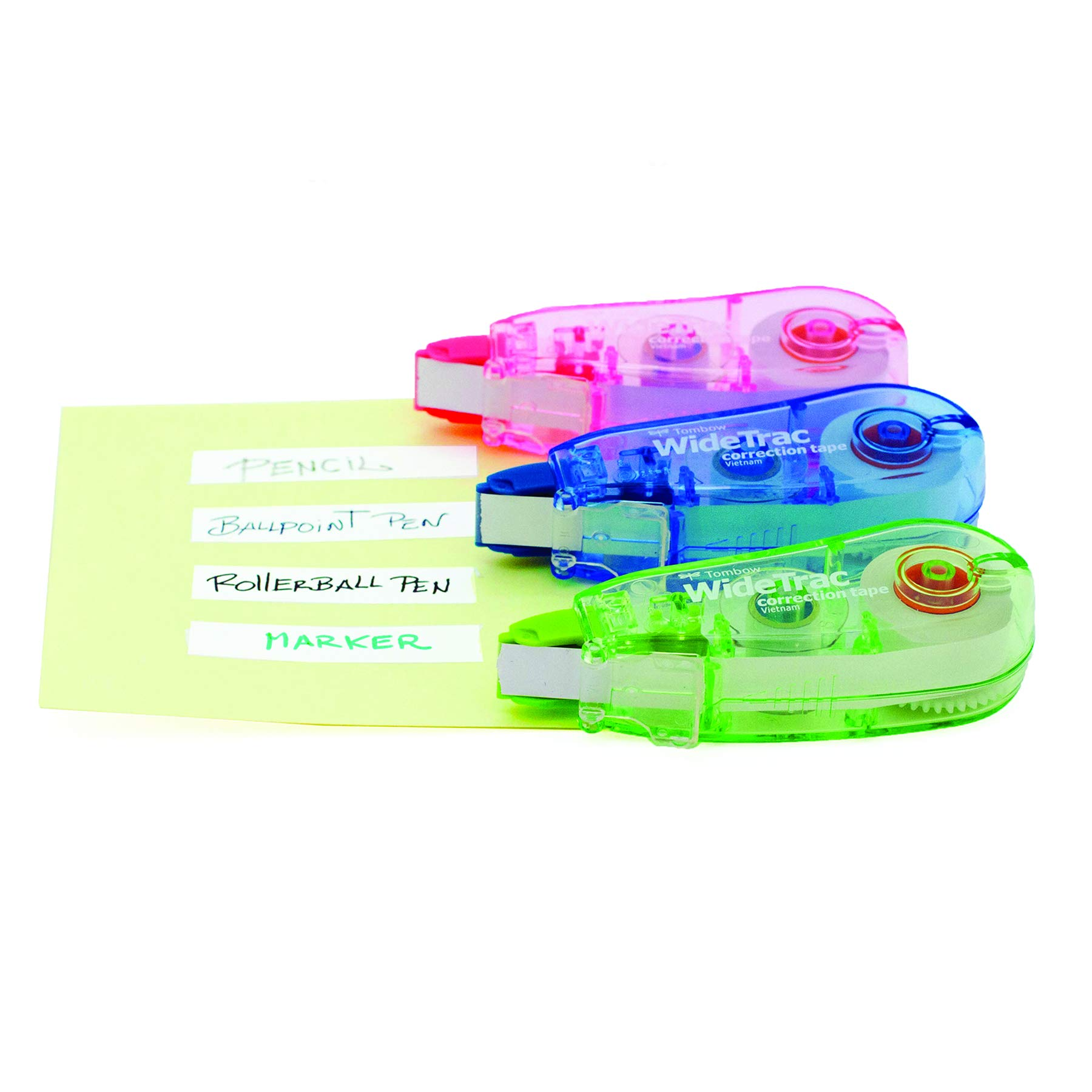 Tombow 68615 WideTrac Correction Tape, 3-Pack. Easily Covers Handwritten Notes in a Single Strip, Blue; Green; Pink by Tombow (Image #3)