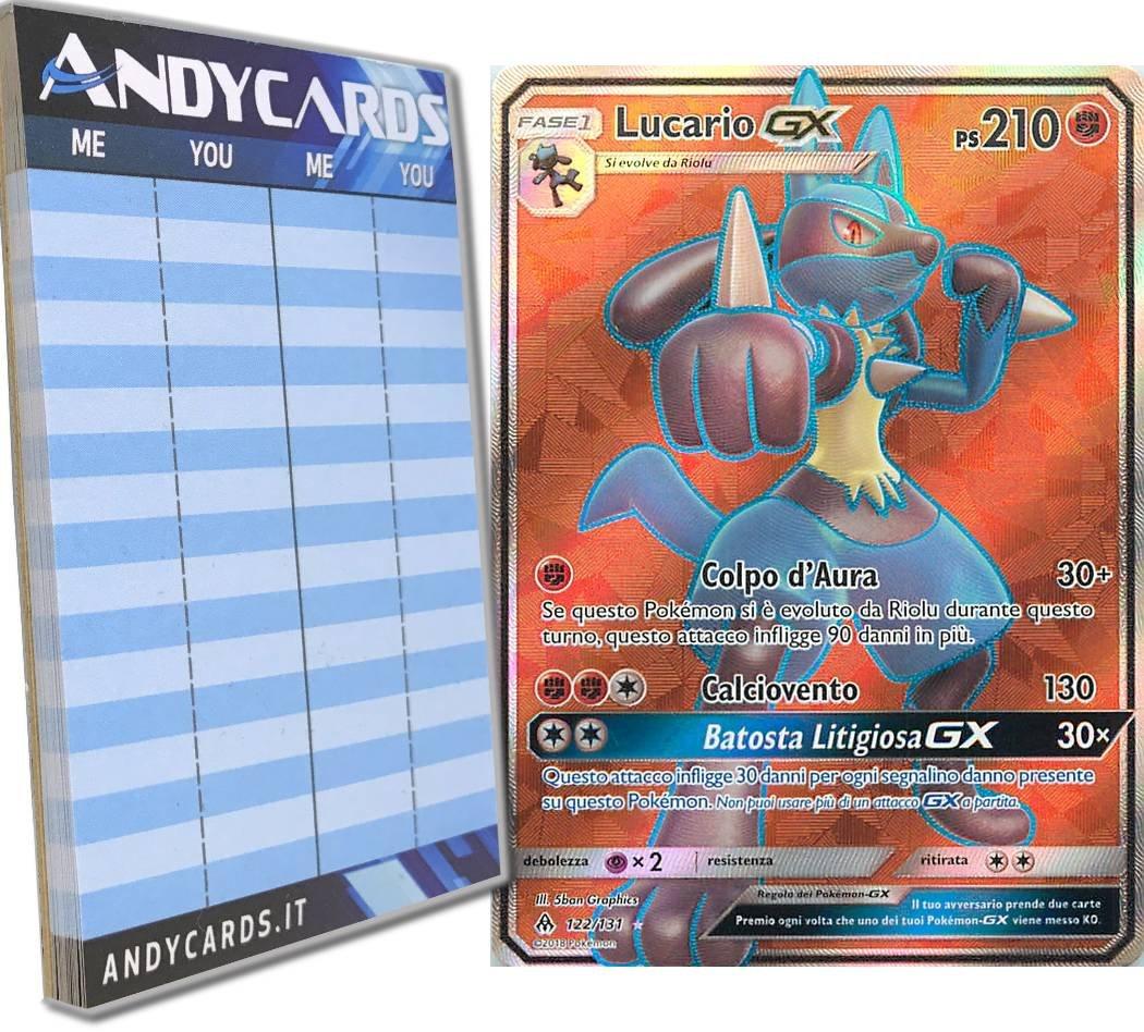 Andycards Lucario-GX 122 131 - Rara Full Art - Sole e Luna Apocalisse di Luce SM06 in ITALIANO + Segnapunti