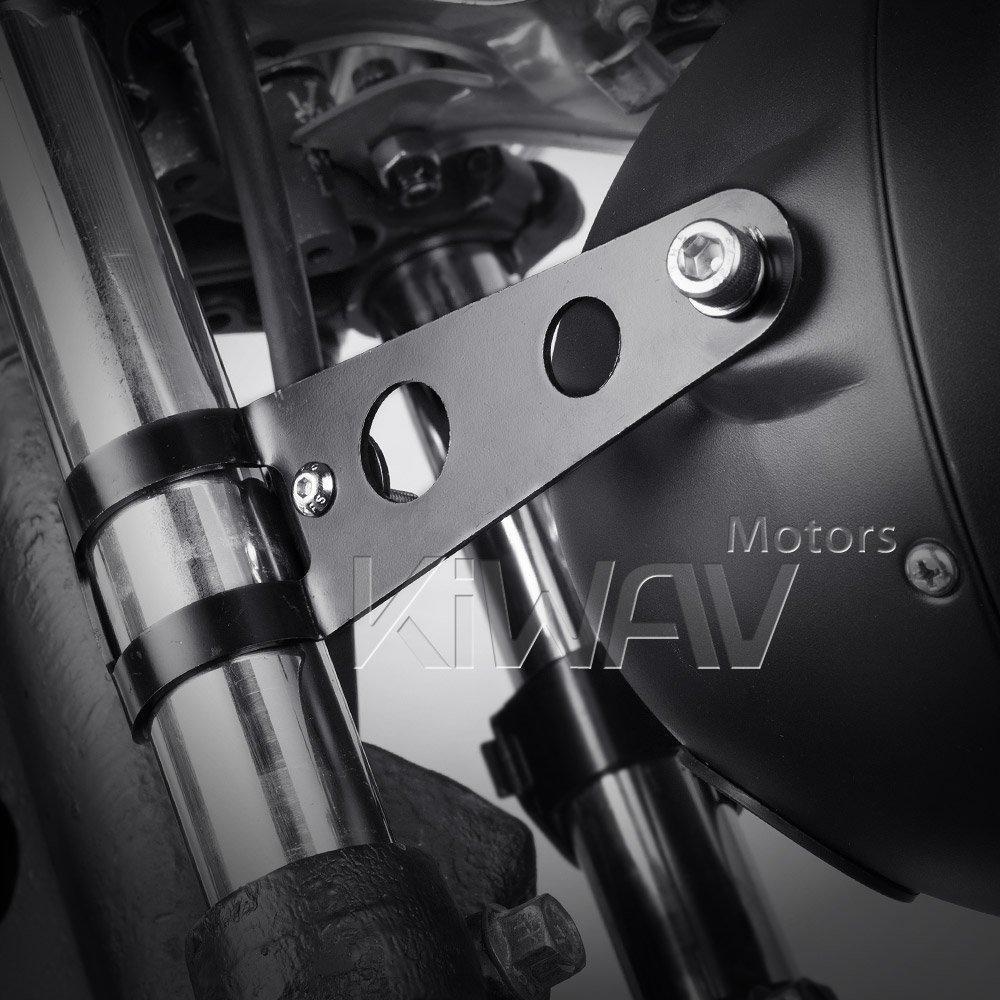 KiWAV Headlight Mount Brackets Fork Ears Black for Motorcycle Bobber Chopper Cafe Racer adjustable 30-38mm