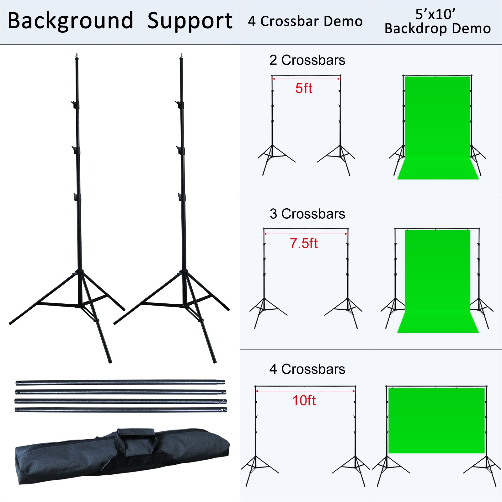 Linco Lincostore 2400 Watt Photo Studio Lighting 10x20ft White Backdrop Photography Background Stand Light Kit AM144-W by Linco (Image #8)