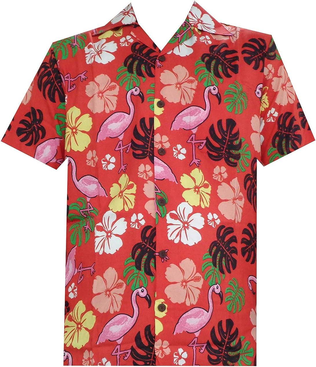ALVISH Camisas hawaianas de flamenco rosa para hombre, ropa de playa, fiesta, casual, camping, botones, manga corta - rojo - Small