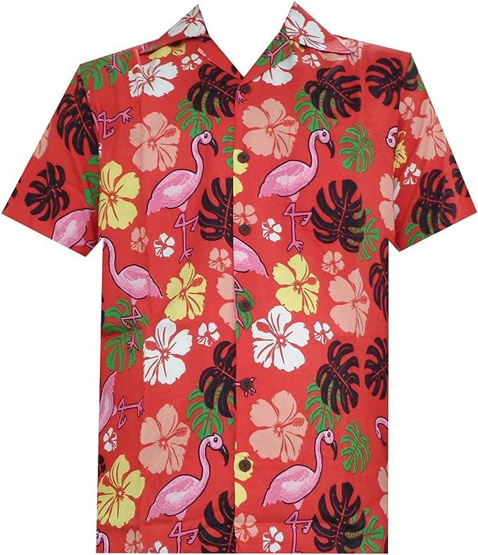 Hawaiian camiseta para hombre Flamenco hoja de impresión playa Aloha Party ricos: Amazon.es: Ropa y accesorios