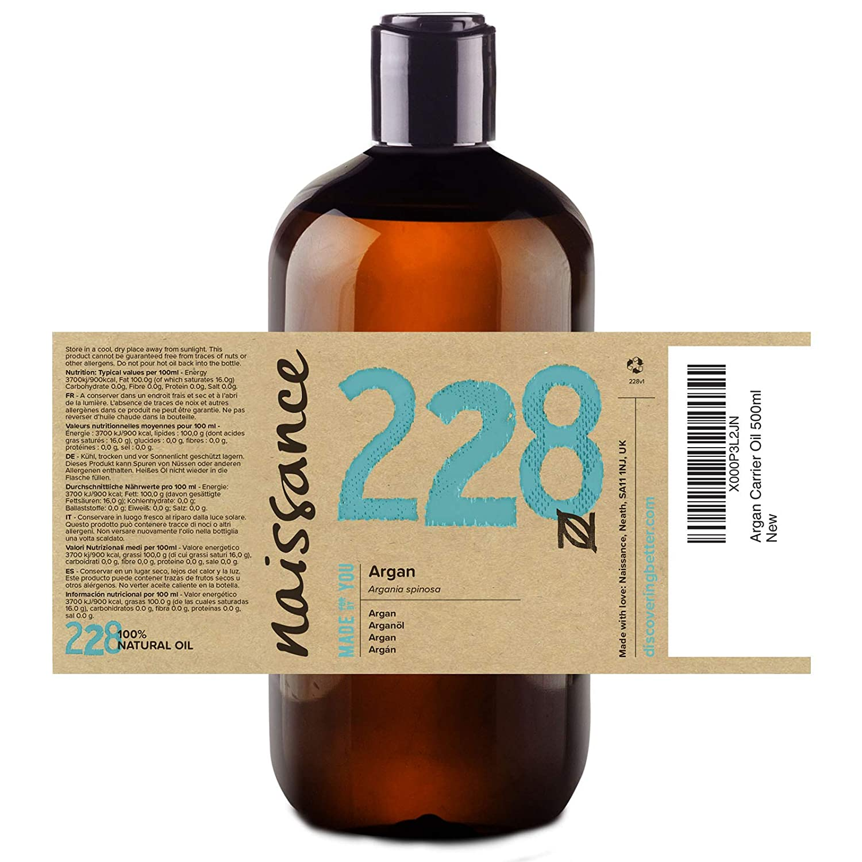 Naissance Aceite Vegetal de Argán de Marruecos n. º 228 - 500ml - Puro, natural, vegano, sin hexano y no OGM - Hidratación natural para el rostro, ...