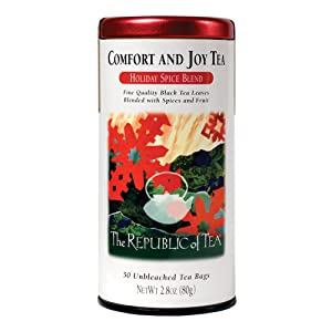 The Republic of Tea Comfort and Joy Tea – Holiday Spice Blend Black Tea | Great Tea for Holiday Season | Great Served when Hot | 50 Unbleached Tea Bags