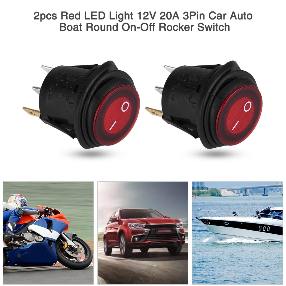 2 Pcs 12V Waterproof Rocker Switches Round Red 3 Pin LED Light Button Rocker Toggle Switch On Off for Car Auto Boat Truck