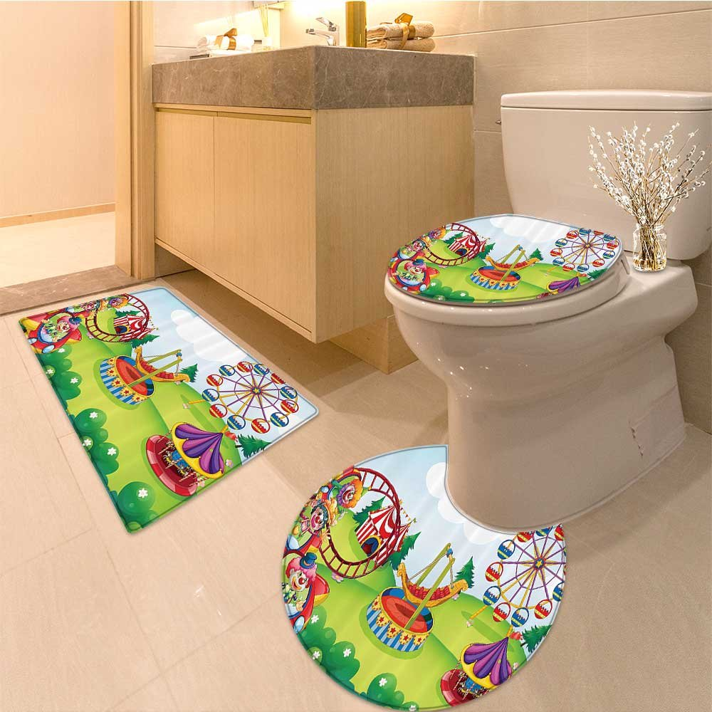 3 Piece Anti-slip mat set Cartoon Collection Of Cute Theme Artwork Wild Animals Performer Extralong Non Slip Bathroom Rugs by NALAHOMEQQ (Image #1)