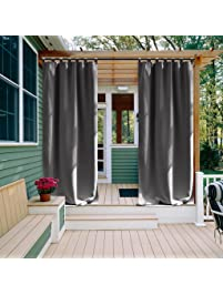 NICETOWN Outdoor Curtain For Front Patio Energy Saving Thermal Insulated  Tab Top Blackout Outdoor Curtain For