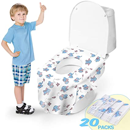Disposable Toilet Seat Covers,24 Pack Potty Seat Covers,Extra Large Waterproof Individually Wrapped Toilet Seat Cover for Potty Training Travel Home Use for Kids Toddlers Adults