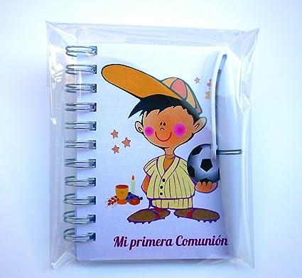Detalles y Regalos de Comunión Para Invitados Originales - Libretas Niño Balón con mini bolígrafo para Comuniones -15 unidades - ¡Sus Amiguitos Alucinarán!: