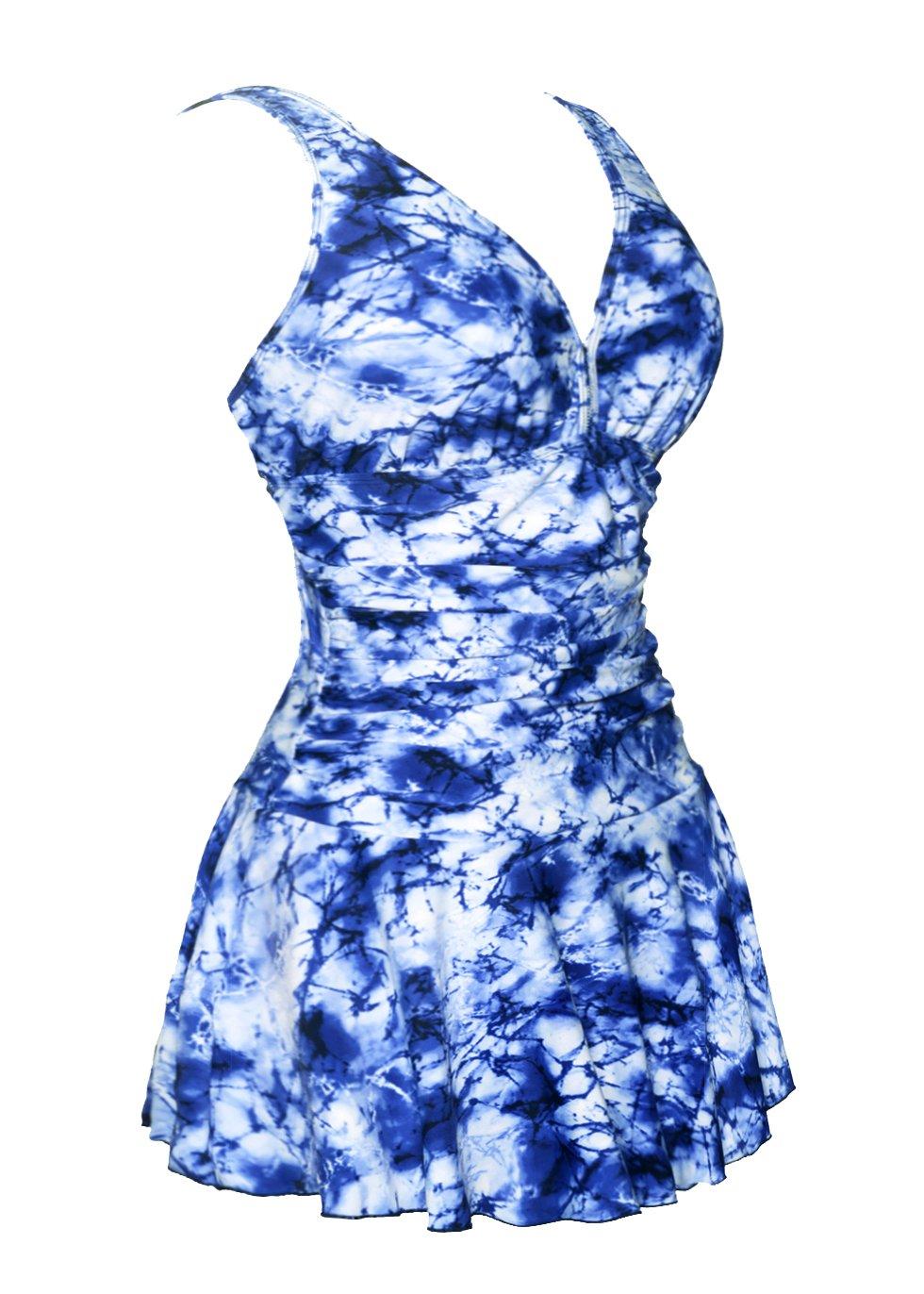 COCOPEARレディース ワンピース水着 ボディシェイプ プリント入り スカート付き プラスサイズ B01H3EHJL8 Large / 14-16|Leopard Floral