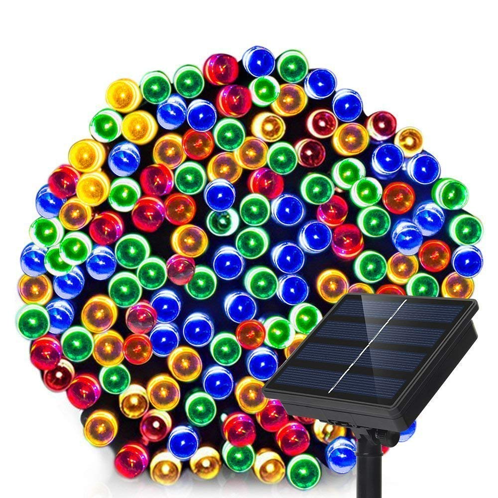 Dolucky Solar String Lights 72ft 200 LED 8 Mode Waterproof Christmas Solar Lights Outdoor Decorative Ambiance Light for Patio Lawn Garden Fence Balcony Party Holiday Christmas Decorations Multicolor