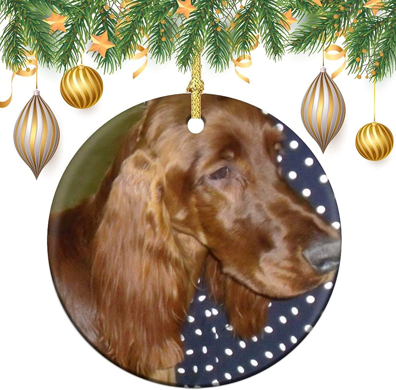 3 Inch Christmas Ornament, Irish Setter Xmas Ornaments, Keepsake Gift Memorial Peace & Happiness Christmas Decorations