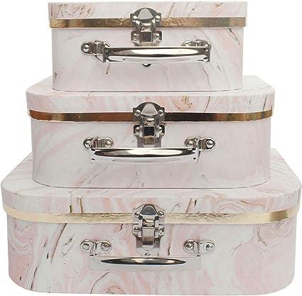 rosa conjunto de 3 Impresi/ón de maletas
