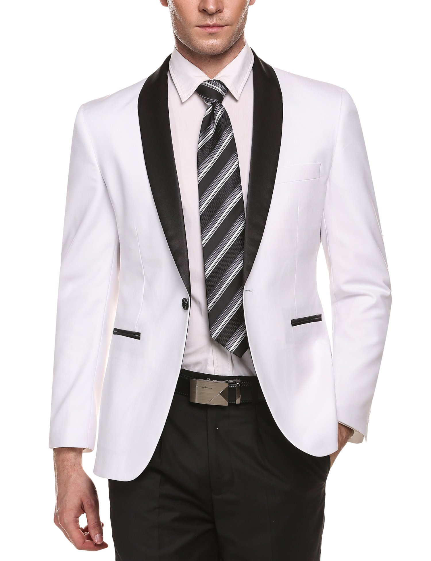 COOFANDY Men's Slim Fit Stylish Casual One-Button Suit Coat Jacket Business Blazers,White,Small by COOFANDY