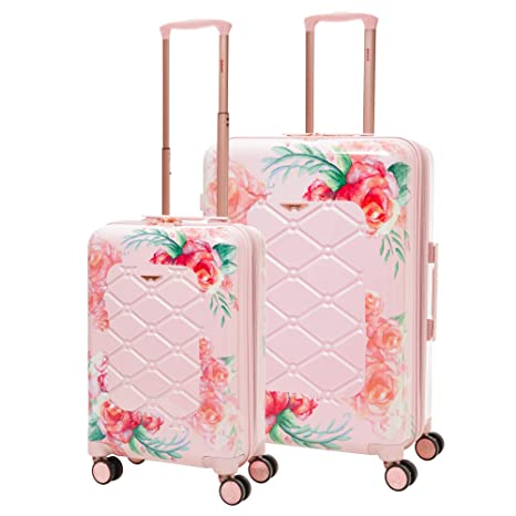 """8497b860f07e Aerolite Lightweight Polycarbonate Hard Shell 4 Wheel 2 Piece Luggage  Suitcase Set, 21"""" Hand Cabin Luggage + Medium 25"""" Hold Check in Luggage,  Floral ..."""