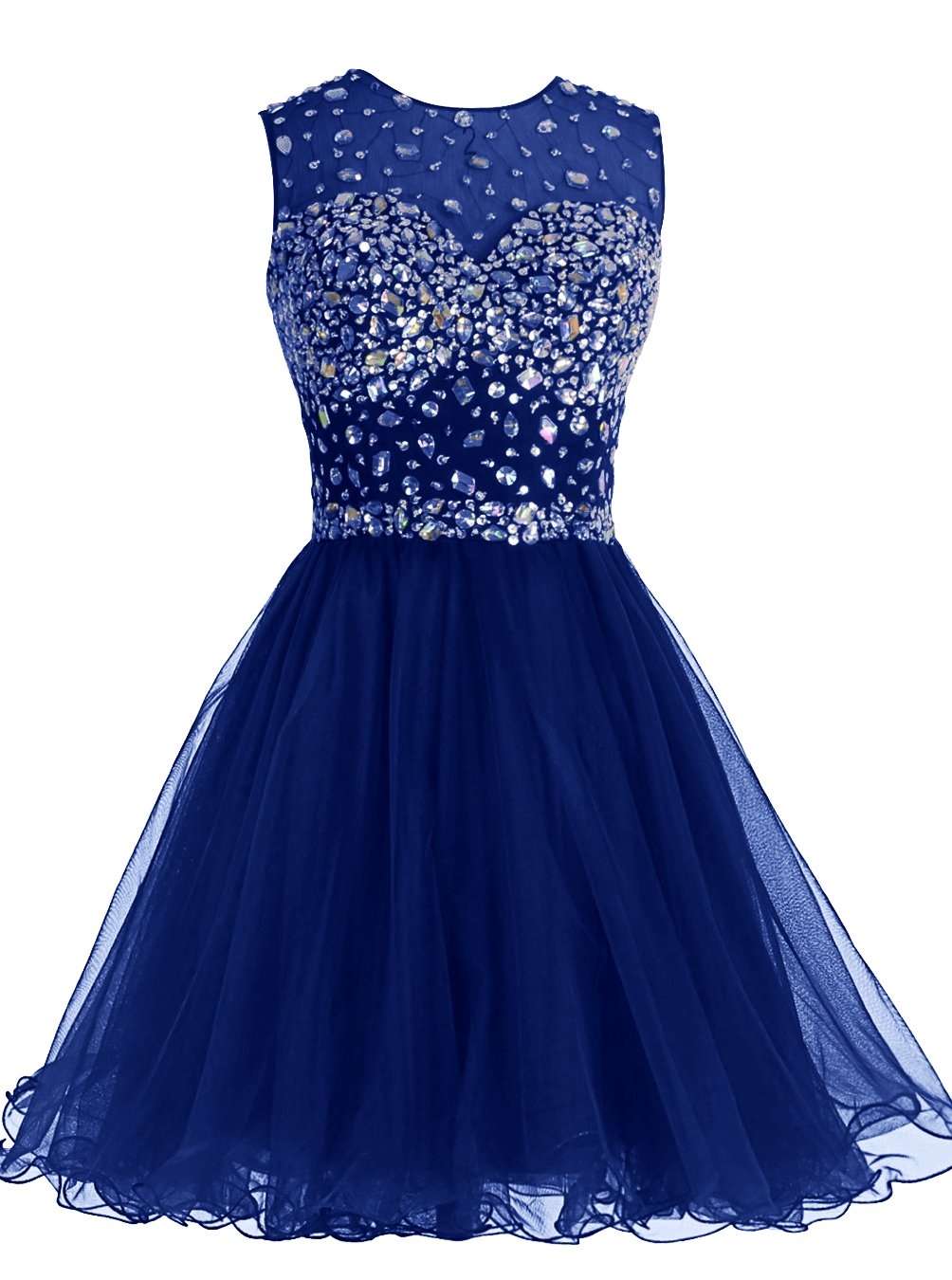 ALAGIRLS Short Homecoming Dress Open Back Tulle Prom Dress with Beads RoyalBlue18Plus