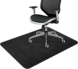 "Office Chair Mat, Upgraded Version - Office Desk Chair Mat for Hardwood Floors, 1/6"" Thick 55""x35"" Hard-Floor Protector Mat, Multi-Purpose Chair Carpet for Home (Black)"
