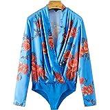 FJ-Direct Women V Neck Floral Pattern Long Sleeve Vintage Playsuit Elastic Waist Casual Tops