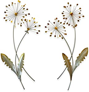 Dandelion Floral Contemporary Metal Wall Decor Set