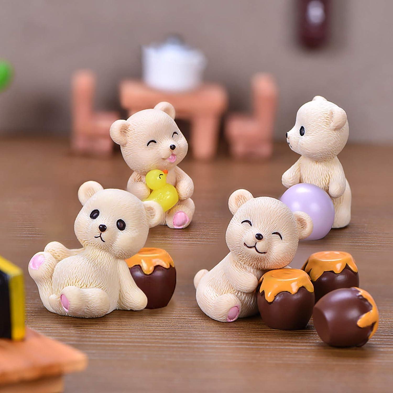 Resin Mini Bears and Honey Jars -10 Pcs Miniature Figurines– Fairy Garden Animals Dollhouse Supplies for Desk Home Garden Patio Bonsai Succulent Decoration
