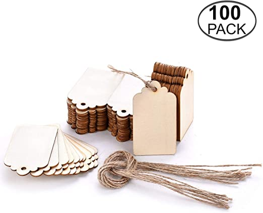 25x Unfinished Wood Gift Tags Label Price Tag Hanging Decoration for Wedding