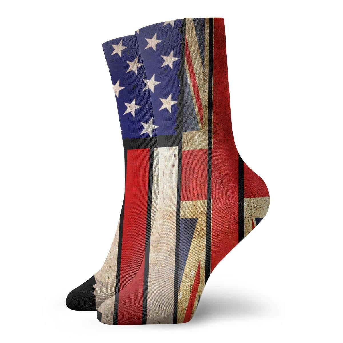 Adult Vintage USA Union Jack Cushion Ankle Socks