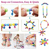 Edycur Arty Snap Pop Beads Set with Storage Bucket, Arts and Crafts Toys Gifts for Kids Age 4yr-12yr Creative DIY Jewelry Kit for Toddlers Birthday Gift Toys for 4,5,6,7,8 Year Old Girls
