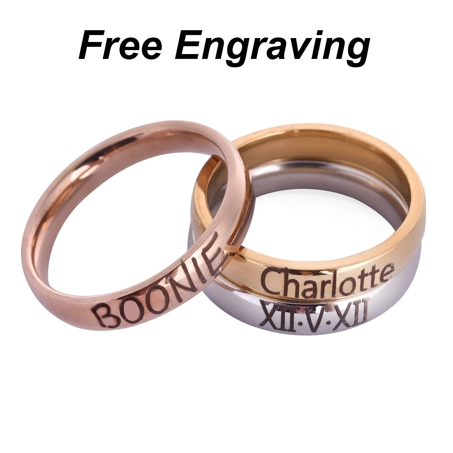 Personalized Rings Stackable Rings Stacking Rings Name Ring Stacking Rings Band Name Rings Stainless Steel 4MM Width Babe King Jewelry