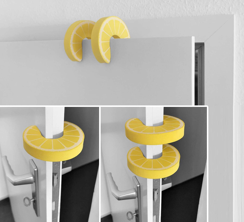Zitrone 2er Set mumbi T/ürstopper Klemmschutz f/ür T/üren und Fenster gelb Fester Schaumstoff