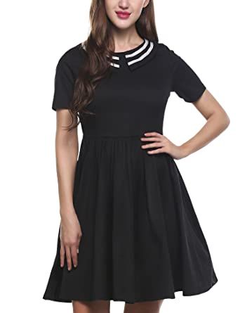 5dffb66f00 ACEVOG Women s Loose Peter Pan Collar Above Knee Fit and Flared Dress (Black  ...