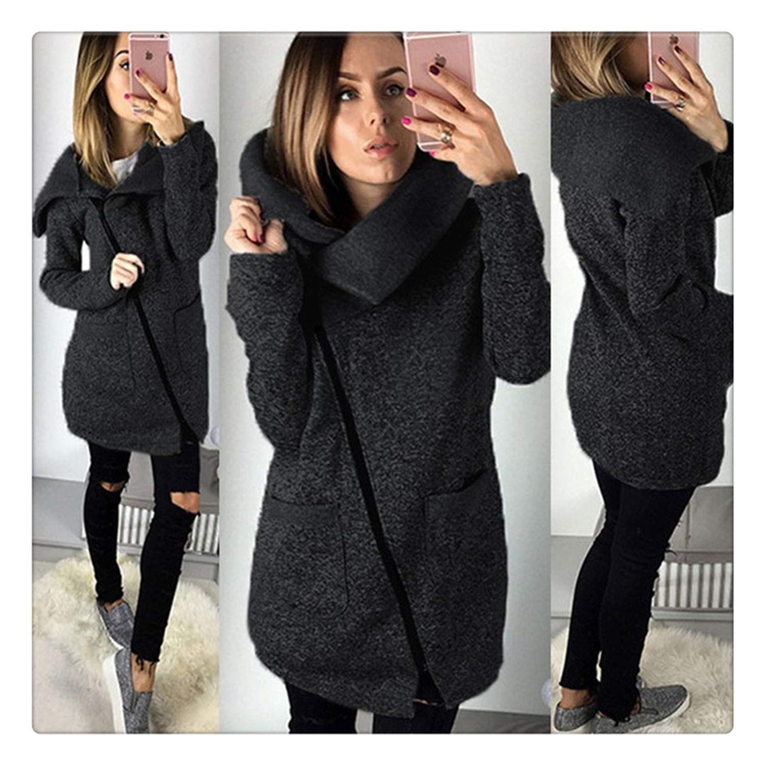 Amazon.com: Hangwucha Women Spring Winter Fleece Sweatshirt Hoodie Long Zipper Hoodies Jacket Coat Outwear Plus Size 5XL Sudaderas para Mujer Black 4XL: ...