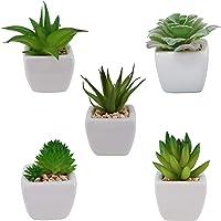 Paquete de 5 plantas pequeñas suclentas artificiales; pequeñas plantas de suclentas artificiales en macetas de cerámica…