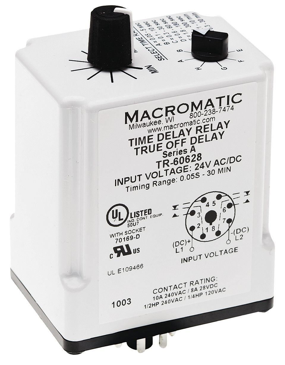 Time Delay Relay, 24VAC/DC, 10A, DPDT MACROMATIC