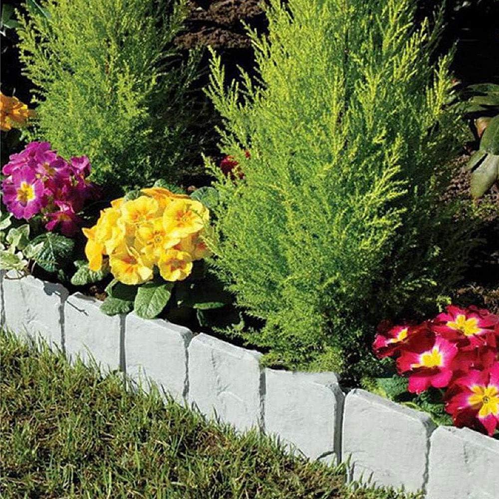 Gris,25x23.5cm Relax love 10PCS Bordure de Jardin Cl/ôture Gazon Imitation Pierre bordurette Cl/ôture de Jardin 10 pi/èces 5 M