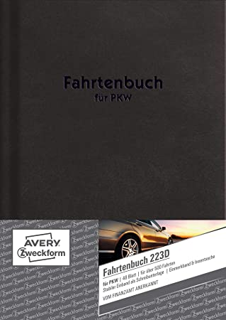 DIN A5 48 Blatt 2, DIN A5 AVERY Zweckform 223D Fahrtenbuch steuerlicher km-Nachweis