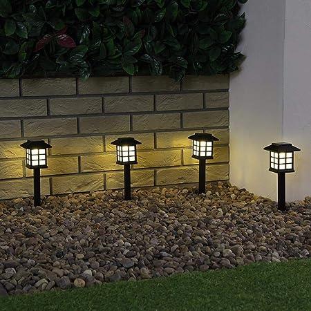 SHELLTB Luces solares para el Suelo del jardín Lámparas Decorativas LED Farola Poste de la lámpara Camino Luz de jardín Iluminación del Paisaje para Patio Patio,Warmwhite,4pcs: Amazon.es: Hogar