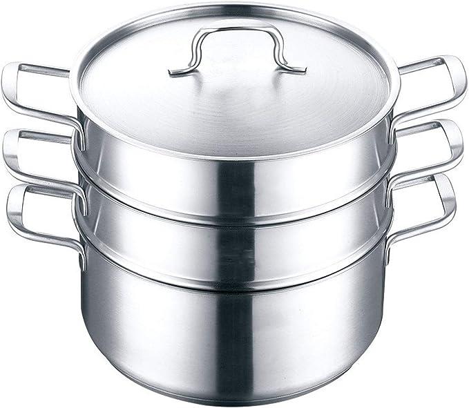 GFBVC Cacerola Duradera Vapor del Alimento Vapor del Acero Inoxidable Espesada Capa 2 Pot Vapor 3 Capas De Gran Capacidad Que Cocina La Utensilios de Cocina para la Cocina de inducción
