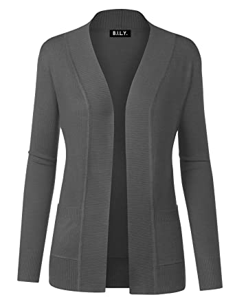 B.I.L.Y Women Open Front Long Sleeve Classic Knit Cardigan at ...